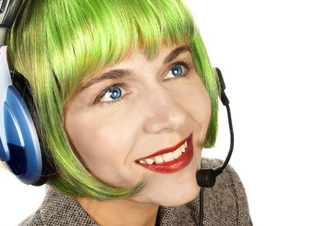Smiling attractive woman with a headset. Stock Photo - 303673
