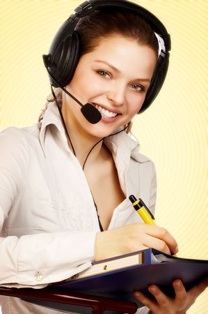 salesperson: Smiling attractive woman with a headset.
