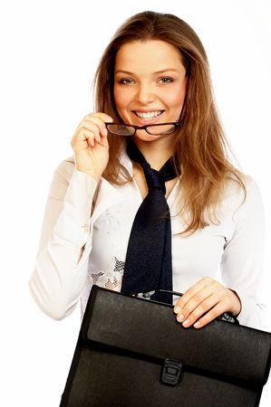 Hermosa joven empresaria sonriendo.  Foto de archivo
