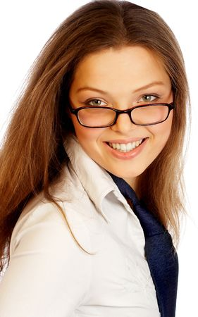 Young beautiful businesswoman smiling. photo