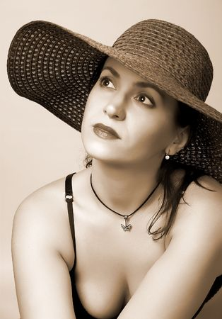 Beautiful woman in sepia style. photo