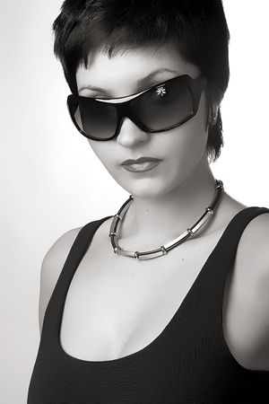 Pretty woman in black and white style. photo