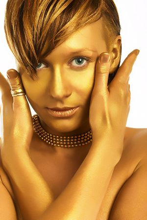 Beautiful young blonde woman. Great makeup. Portrait.