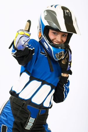 Attractive sexy woman in motoracer uniform. More images of this attractive model and other one you can find in my portfolio. WELCOME!!! WELCOME!!! WELCOME!!!