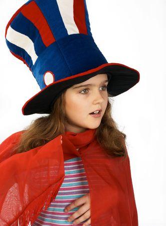 bawl: Funny little girl in a foolÂ's cap.