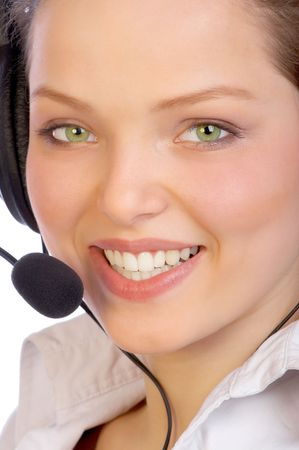 girls talk by phone: Attractive woman with a headset.