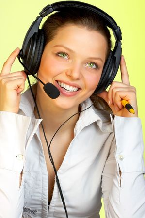 telephone saleswoman: Attractive woman with a headset.