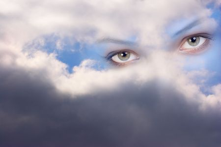 name day: Stare from heaven. Guardian angels look  Stock Photo