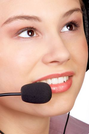 Business woman with headset photo