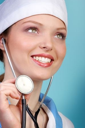 administer: Doctor with stethoscope Stock Photo