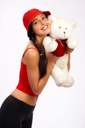 Happy pretty  woman with teddy bear Stock Photo - 436898