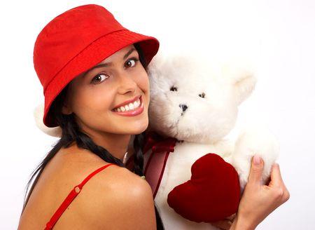 Happy pretty  woman with teddy bear Stock Photo - 436899