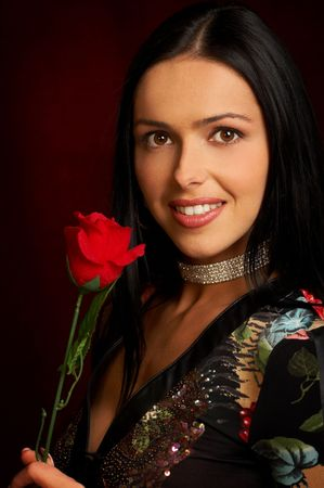 Pretty woman with rose Stock Photo - 436904
