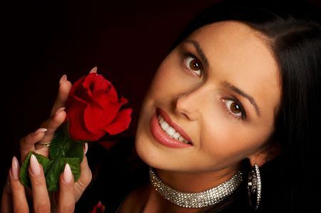 Pretty woman with rose Stock Photo - 436903