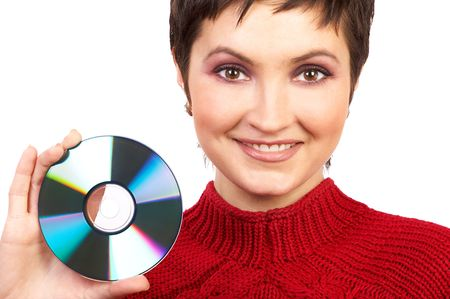 Young beautiful woman holding a cd photo