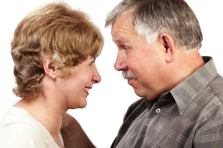 mate married: Happy elderly loving couple smiling. Stock Photo