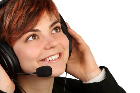 Pretty woman with headset photo