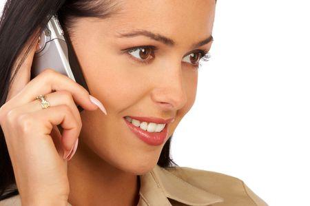 girls talk by phone: beautiful businesswoman