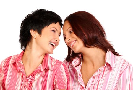 Happy friends talking and laughing Stock Photo - 556701