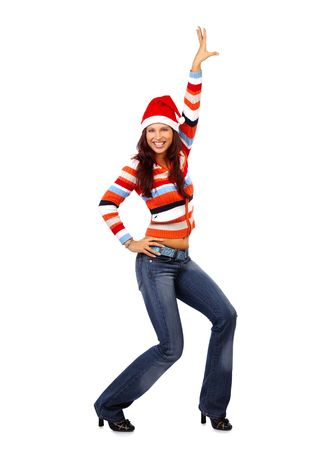 Christmas happy woman laughing Stock Photo - 556695