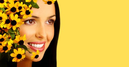 beautiful woman face in flowers Stock Photo - 556678