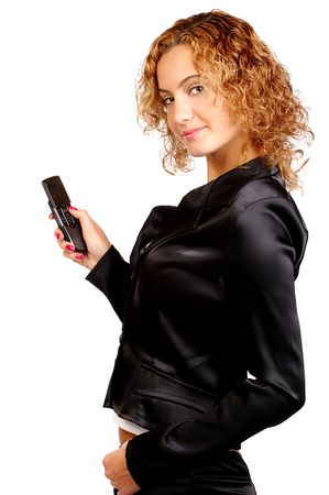 attractive business woman holding a cell phone photo