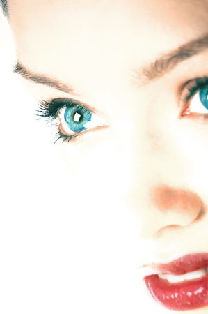 Beautiful young woman face with blue eyes Stock Photo - 556640