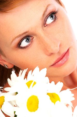 Beautiful young woman with white flowers dreaming Stock Photo - 556651