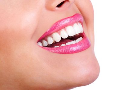Laughing woman mouth with great teeth. Isolayer over white background