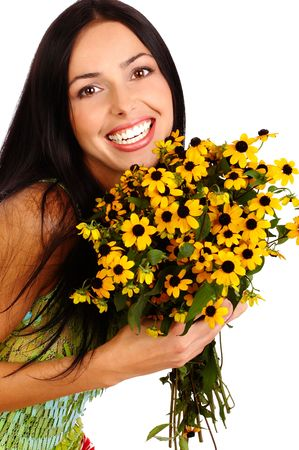 Pretty smiling woman with fresh  flower. Isolated over white photo