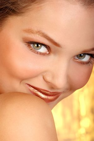 Beautiful face of a young smiling pretty woman. Close up. Woman Beautiful Face, Smile, Emotion and Expression  series.