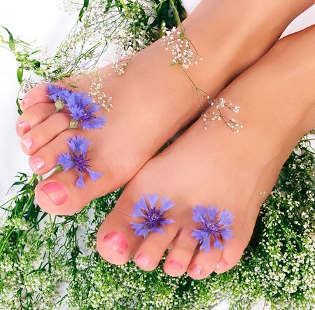 Beautiful woman legs and flowers over white background photo