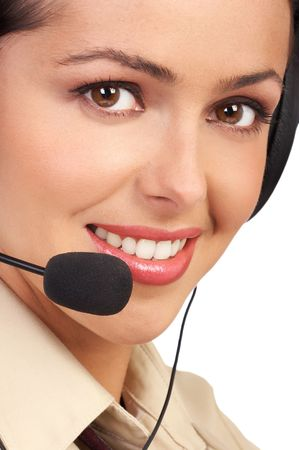 customer facing: Business woman with headset. Isolated over white background Stock Photo