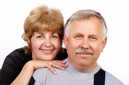 Happy smiling seniors. Isolated over white background Stock Photo - 656273