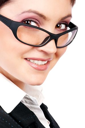 Young beautiful  businesswoman wearing glasses. Isolated over white. Stock Photo - 656255