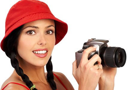 photocamera: Photographer woman with a camera. Isolated over white background Stock Photo