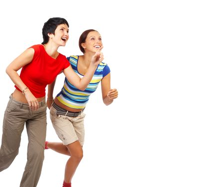 scamper: Running young beautiful women. Isolated over white. Stock Photo