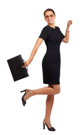 working woman: Happy successful businesswoman. Isolated over white background Stock Photo