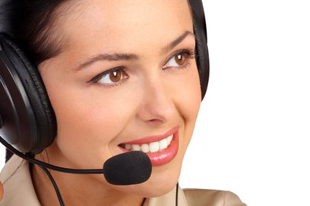 CUSTOMER SERVICE AGENT LOOKING TO THE FUTURE Stock Photo