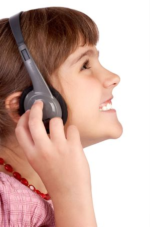 laugher: Funny smiling girl listening to the music. Isolated over white