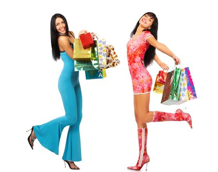 Shopping Women. Isolated over white background  photo
