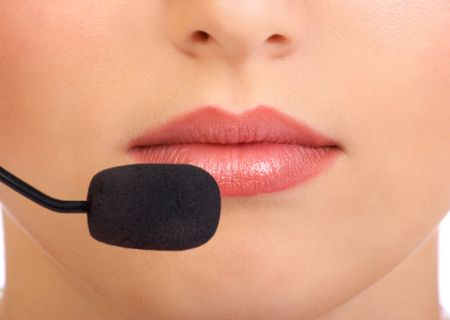 close up face woman: Business woman face with headset. Close up  Stock Photo