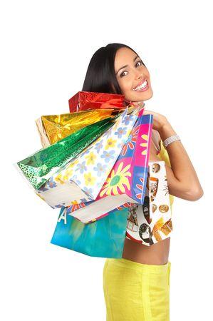 euforia: Mujer Sonriente De las Compras. Fondo blanco excesivo aislado