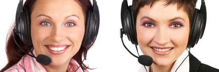 telephone saleswoman: Business women with headset. Isolated over white background