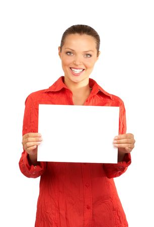 area sexy: Young business woman holding a sheet of paper