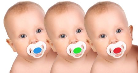 adorable little babies. Over white background  Stock Photo