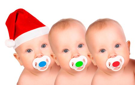 Christmas babies.  Isolated over white background  photo