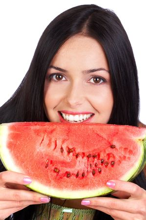 Pretty smiling woman with a piece of water-melon Stock Photo - 2773387