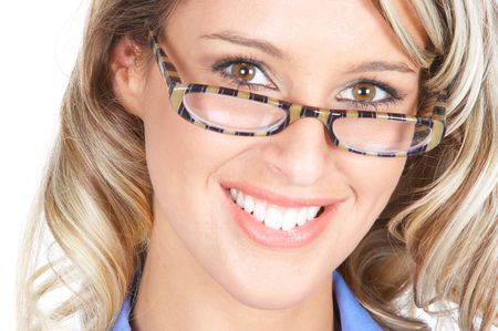 Beautiful smiling businesswoman with eyeglasses. Over white background  photo