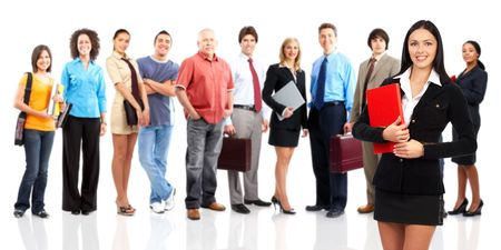Large group of young smiling business people. Over white background Stock Photo - 5493477
